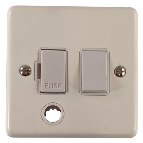 G&H CW56W Standard Plate Matt White 1 Gang Fused Spur 13A Switched & Flex Outlet